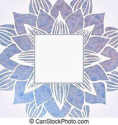 ram, pattern., element, vattenfärg, vektor, violett, blommig
