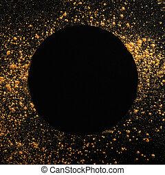 ram, svart, glitter, bakgrund., runda, gyllene