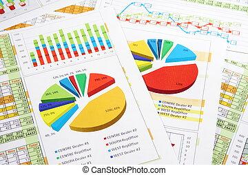 rapport, grafer, siffror, realisationer tablå