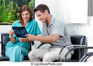 rapport, visande, tandläkare, röntga, man