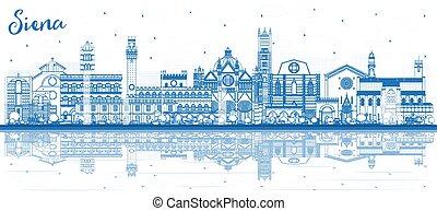 reflections., toskana, italien, anläggningar stad, horisont, skissera, siena, blå