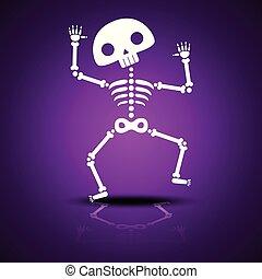 reflexion, dansande, purpur, halloween, bakgrund, fest., tecknad film, skelett