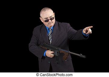 regering, över, medel, gangster, svart fond, fbi, eller