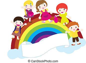 regnbåge, barn, bakgrund