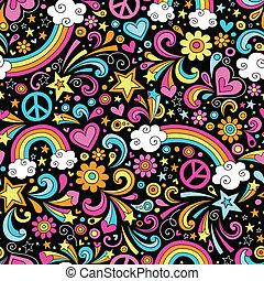 regnbåge, doodles, seamless, mönster
