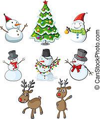 reindeers, träd, snowmen, jul