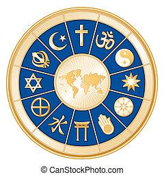 religioner, karta, värld