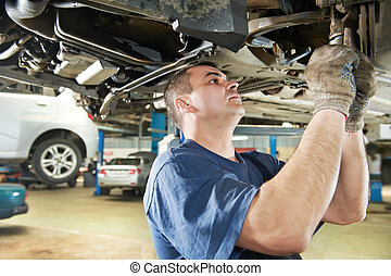 reparera, bil, arbete, mekaniker, bil, upphängning