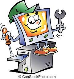 reparera, dator, maskot
