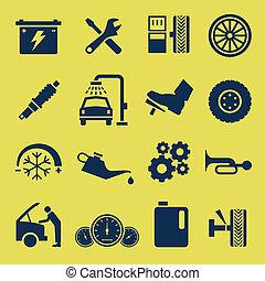 reparera, service, bil, symbol, bil, ikon