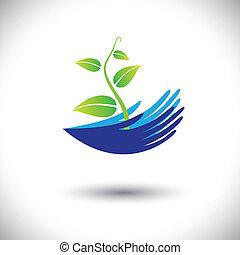representera, växt, begrepp, kan, icon(symbol)., planta, kvinna, graphic-, räcker, etc., illustration, begreppen, miljöbetingad, vektor, skog, beskyddande, planterar, konservering, eller, lik