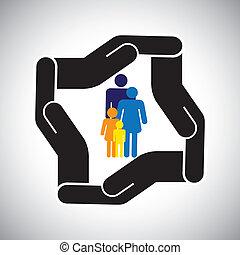 representerar, grafisk, lurar, familj, olycka, skydd, etc., också, begrepp, säkerhet, fader, vector., mor, sjukförsäkring, eller