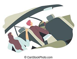 resa, bemanna kvinna, par, familj, vektor, eller, bil