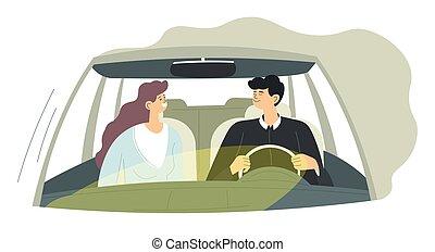 resa, par, kvinna, vektor, man, bil, drivande