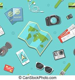 resa, pattern., seamless, vektor, bakgrund, turism