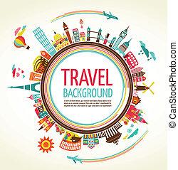 resa, vektor, turism, bakgrund
