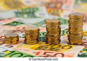 resning, mynter, båge, stack, pengar