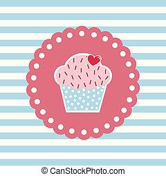 retro, kort, cupcake