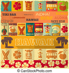 retro, kort, hawaii