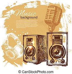 retro, plaska, högtalare, hand, klick, musik, design, bakgrund., årgång, illustration., oavgjord