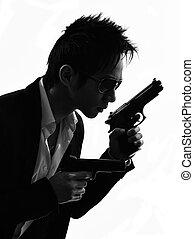 revolverman, mördare, stående, asiat, silhuett