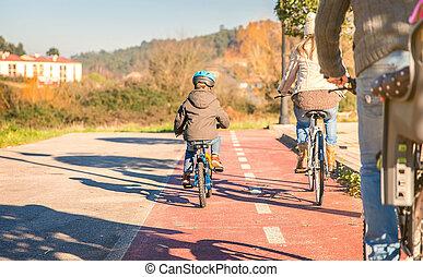 ridande, bicycles, barn, familj, natur