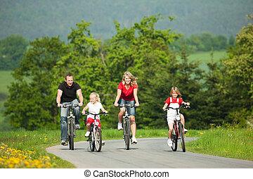 ridande, bicycles, familj