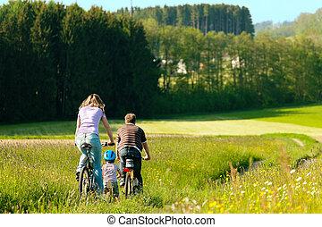 ridande, bicycles, familj, sommar