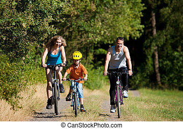 ridande, bicycles, sport, familj