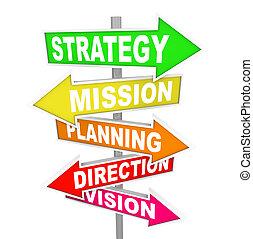 riktning, mission, strategi, planerande, väg signerar, vision