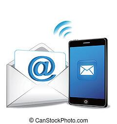 ringa, email, smart, överföring