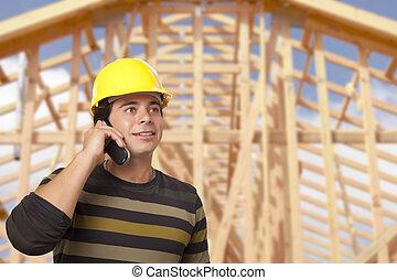 ringa, hus, entreprenör, hispanic, inramning, främre del, manlig