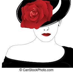 ro, kvinna, hatt