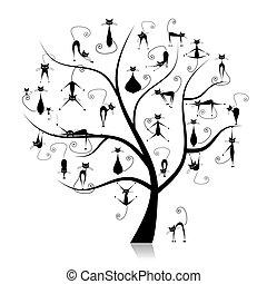 rolig, 27, stamträd, silhouettes, katter, svart