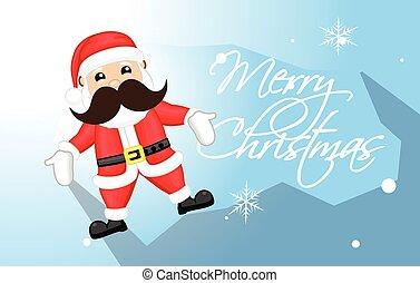 rolig, claus, vektor, jul, jultomten