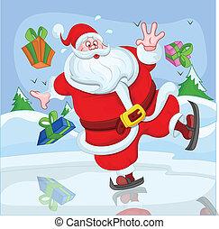rolig, claus, vektor, jultomten, skidåkning