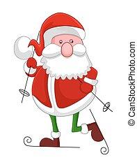 rolig, gammal, jultomten, skidåkning