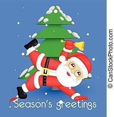 rolig, jul, jultomten, hälsning