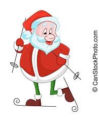 rolig, jultomten, skidåkning