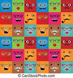 rolig, monster, seamless, hipster, bakgrund, vettar