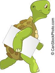 rolig, turtle., courier.