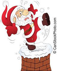 rolig, vektor, jul, jultomten