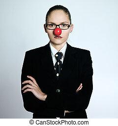 rolig, womanaffär, clown, näsa, allvarlig