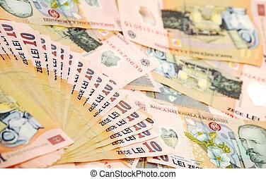 romanian, banconotes, närbild, specificera