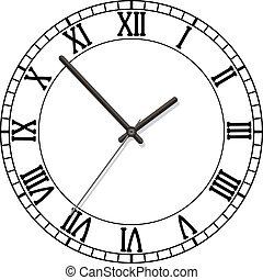 romersk, visartavla, numrerar, klocka