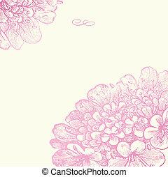 rosa, blommig, ram, vektor, fyrkant