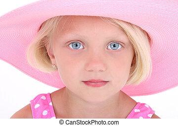 rosa, flicka, hatt, barn