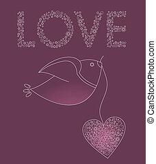 rosa, hjärta, abstrakt, fågel