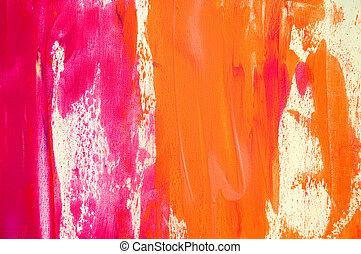 rosa, målad, abstrakt, bakgrund, apelsin