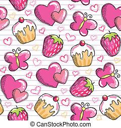 rosa, mönster, seamless